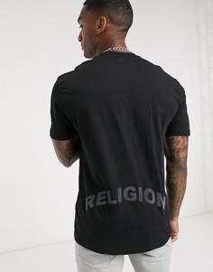 Черная футболка с переливающейся надписью на спине Religion-Черный