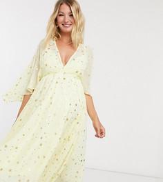 Платье макси с принтом звездочек Queen Bee Maternity-Желтый