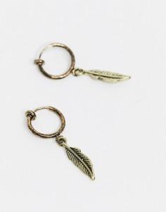 Золотистые состаренные серьги-кольца 10 мм с пером ASOS DESIGN-Золотой