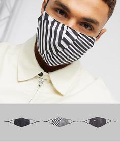 3 маски для лицас регулируемыми ремешкамии принтом ASOS DESIGN-Черный
