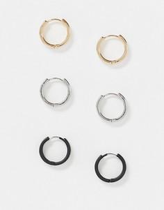 Серьги-кольца 12 мм (черные/серебристые/золотистые) ASOS DESIGN-Мульти