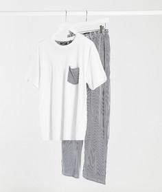 Пижамная футболка и брюки в полоску Brave Soul-Белый