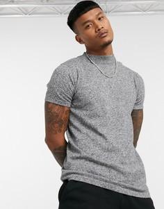 Серая футболка с высоким воротником Bershka-Серый