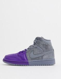 Сине-серые кроссовки в стиле колор блок Nike Air Jordan 1-Синий