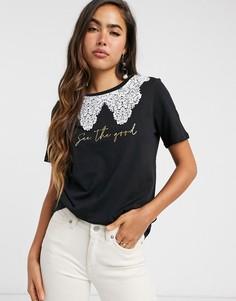 Черная футболка с воротником и надписью River Island-Черный