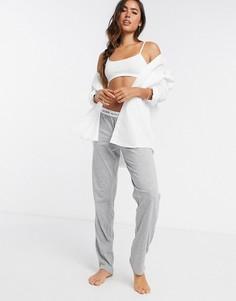 Серые меланжевые штаны для дома с логотипом на поясеLAUREN byRalph Lauren-Серый