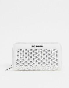 Белый кошелек с волнистой отделкойLove Moschino