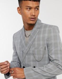 Серый двубортный пиджак в клеткуMauvais