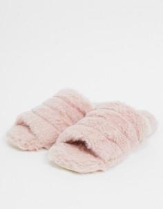 Розовые слиперы из искусственного меха Truffle Collection-Розовый