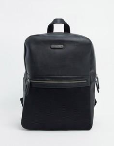 Кожаный рюкзак с сетчатым карманом Bolongaro Trevor-Черный