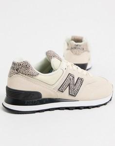Серые кроссовки со звериным принтом New Balance 574-Серый