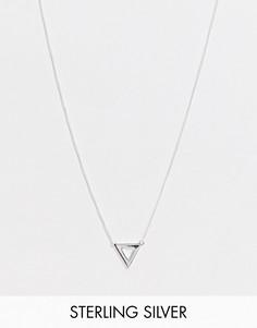 Серебряная тонкая цепочка 1 мм с треугольной подвеской ASOS DESIGN-Серебряный