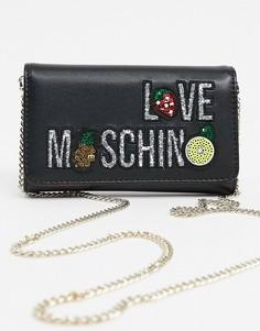 Черный кошелек с ремешком-цепочкой и логотипом Love Moschino