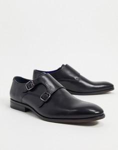 Черные кожаные монки для широкой стопы Silver Street-Черный