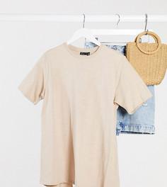 Фактурная футболка серо-коричневого цвета с запахом на спине ASOS DESIGN Maternity-Бежевый