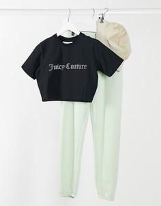 Черная короткая футболкас логотипомиз стразов Juicy Couture-Черный