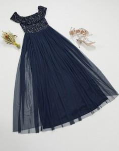 Темно-синее платье макси с открытыми плечами, пайетками и юбкой из тюля Maya Bridesmaid-Темно-синий