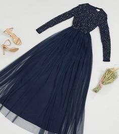 Темно-синее платье макси из тюля с длинными рукавами и пайетками Maya Tall-Темно-синий