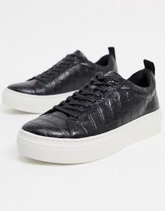 Черные кожаные кроссовки на платформе с крокодиловым рисунком Vagabond-Черный