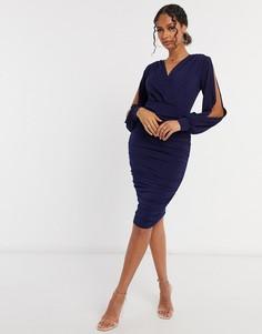 Темно-синее платье миди с разрезами на рукавах AX Paris-Темно-синий