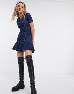 Джинсовое платье со складкамиLove Moschino-Синий