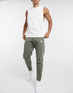 Джоггеры цвета хаки с манжетами Nike Club-Зеленый