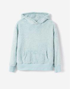 Мятное плюшевое худи oversize для девочки Gloria Jeans