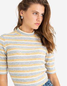 Полосатая футболка с воротником-стойкой Gloria Jeans