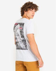 Светло-серая футболка с принтом на спине Gloria Jeans