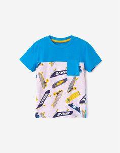 Футболка колор-блок с карманом для мальчика Gloria Jeans