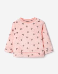 Розовый плюшевый свитшот с сердечками для малышки Gloria Jeans