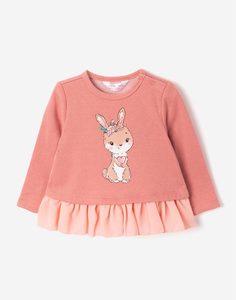 Розовый блестящий свитшот с воланом для малышки Gloria Jeans