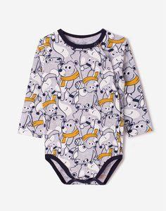 Серое боди с мишками для малыша Gloria Jeans