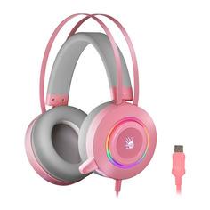 Гарнитура игровая A4TECH Bloody G521, для компьютера, мониторные, розовый [g521 ( pink )]