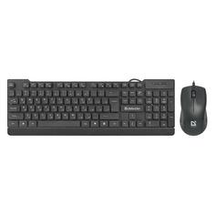 Комплекты (Клавиатура+Мышь) Комплект (клавиатура+мышь) DEFENDER York C-777, USB 2.0, проводной, черный [45779]