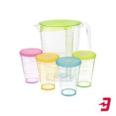 Кувшин Tescoma myDrink 2,5 л + 4 стакана с крышками, зеленый (308802.25)