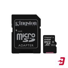 Карта памяти Kingston microSDXC 64GB Class 10 UHS-I + адаптер (SDCS/64GB)