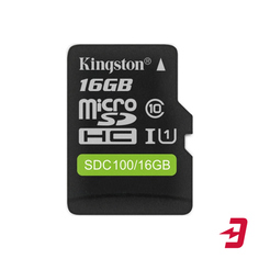 Карта памяти SDHC Micro Kingston microSDHC 16GB Class 10 (SDC100/16GB)