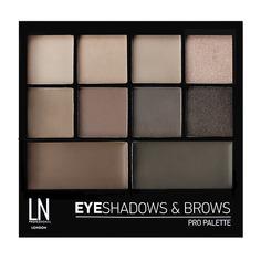 Набор для макияжа LN PROFESSIONAL PRO PALETTE тени для век и воск для бровей тон 02