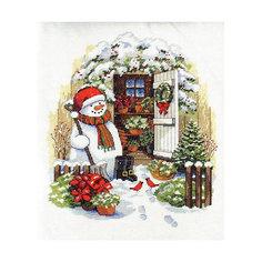 """Набор для вышивания Dimensions """"Снеговик во дворе"""""""