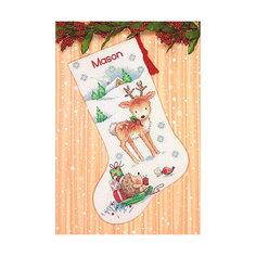 """Набор для вышивания Dimensions """"Новогодний носок от лесных друзей"""""""