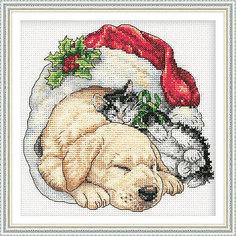 """Набор для вышивания Dimensions """"Щенок и котенок рождественским утром"""""""