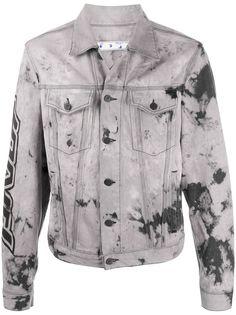 Off-White джинсовая куртка с принтом тай-дай