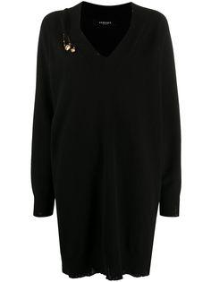 Versace платье с декором Safety Pin