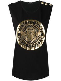 Balmain футболка без рукавов с логотипом