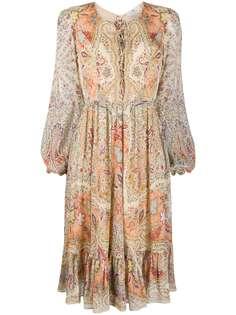 Etro платье с поясом и принтом пейсли