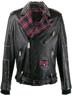 Philipp Plein байкерская куртка на клетчатой подкладке