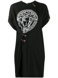 Versace футболка оверсайз с декором Medusa