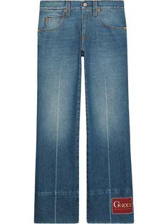 Gucci расклешенные джинсы с нашивкой-логотипом