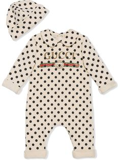 Gucci Kids комплект из комбинезона и шапки с узором в горох